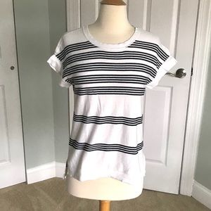 Ann Taylor White Striped Knit Short Sleeve Top